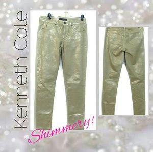 Kenneth Cole Gold Metallic Skinny Jeans